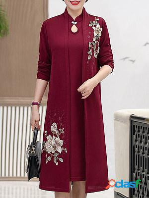 Fashion spring and autumn loose embroidered dress jacket two-piece suit