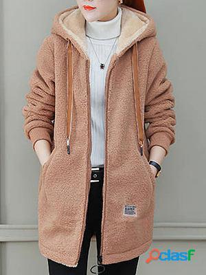 Lamb Wool Hooded Plain Jacket Coats