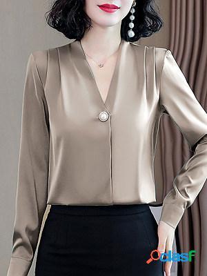 V-neck Satin Pearl Long Sleeve Blouse