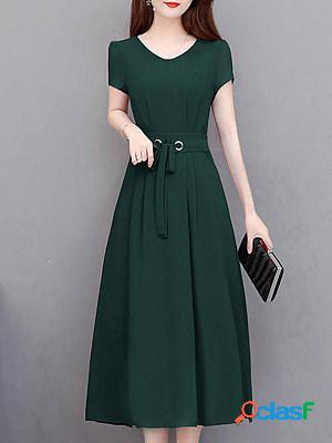 Women Elegant Plain Dress