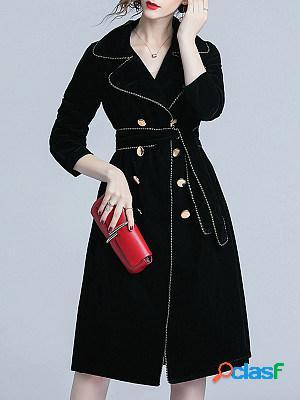 Lapel Contrast Trim Double Breasted Belt Plain Long Sleeve Coats